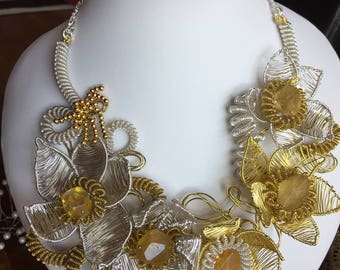 Statement floral necklace. Silver. Gold. Bib necklace. Wedding. Unique necklace. Handcrafted. Flowers.