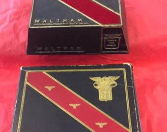 Black and red Waltham watch box