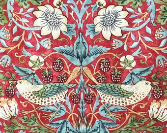 Strawberry Thief William Morris fabric - red birds fabric - Art Nouveau fabric - fabric for home - William Morris print - English fabric