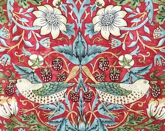 Strawberry Thief William Morris fabric - red birds fabric - Art Nouveau fabric - fabric for home - William Morris print - English fabric