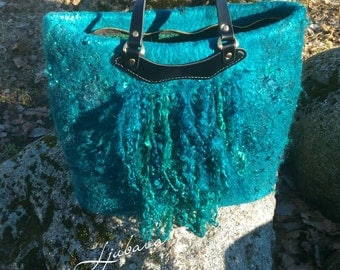 Felted boho bag FeltTote bag Emerald bag Felted wool handbag Boho fringe bag Green tote bag Felted wool bag Shopping bag Ecofriendly