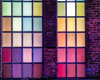 Kaleidoscope, Panes, window, Industrial, colours, colourful, Abstract, Details, Framed, Print
