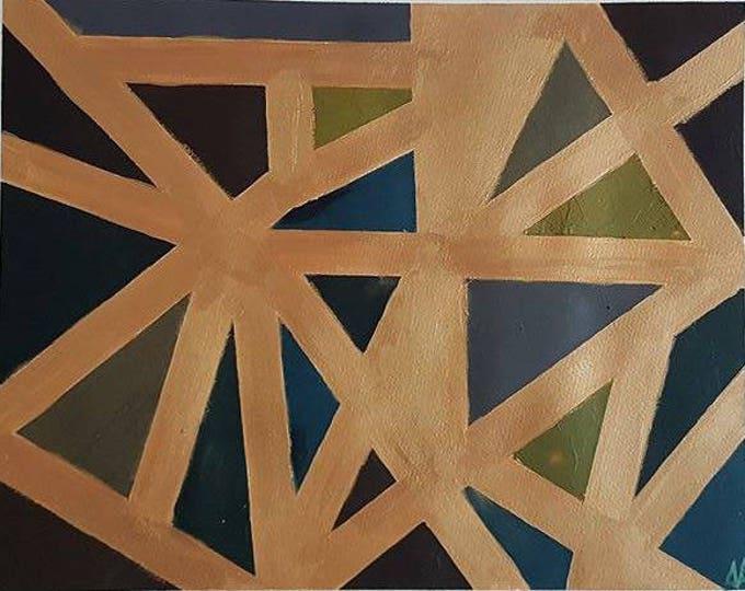 Gold 49x39cm Original Geometric Abstract Painting
