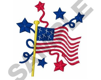 July Fourth Flag - Machine Embroidery Design