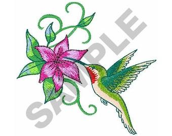 Hummingbird And Flower - Machine Embroidery Design