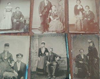 Civil Love:  Lot of 6 Antique Tintype Photographs of Civil War Era Couples
