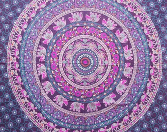 Hand Made Single Bed Purple Mandala Throw/Wall hanging