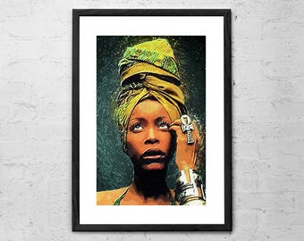 Erykah Badu - Illustration - Music Poster - Soul - Baduizm - Music Icon Portrait - Hip Hop - Music Gift - Music Art - Erykah Badu Poster
