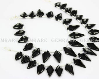 Natural Black Spinel Smooth Kite Beads, Quality:  AAA, 7x12 to 7.50x17 mm, 21 pieces, 18 cm, BL-023/1, Semiprecious Gemstone Beads