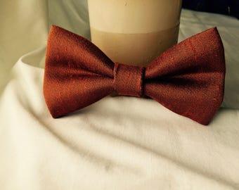 Burnt Orange Raw Silk Bow Tie