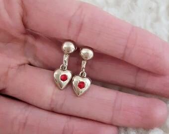 Coro Heart Earrings | Vintage 1940's Earrings | Vintage Screwback Earrings |