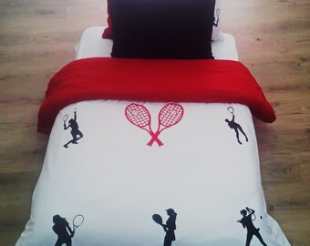 Tennis Bedding Set for Girls. Hand Painted. 1 Duvet Cover and 2 Pillow Cases. Handmade