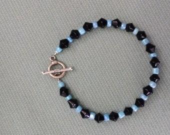 Black and ice blue bracelet