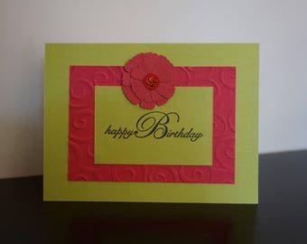 Happy Birthday Card, Bright Green with Hot Pink Flower