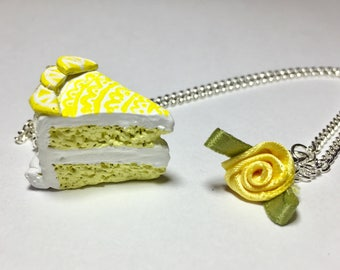 Double layered lemon cake necklace with flower and chain