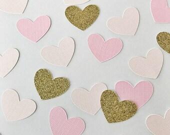 Heart Confetti, Wedding Confetti, Bridal Shower Confetti, Gold Glitter Confetti, Paper Hearts, Flower Girl Confetti, Blush Confetti, Pink