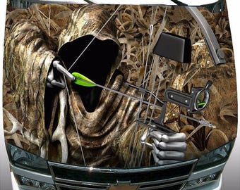 Shadow grass bow reaper camouflage car truck hood wrap vinyl graphic decal