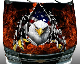 American flag eagle rip fire flame Hood Wrap Wraps Sticker Vinyl Decal Graphic