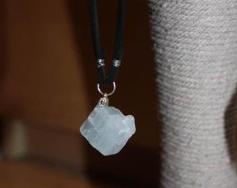 Blue Calcite Raw Crystal on Suede Necklace