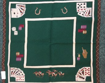 """NEW hand stitched needlepoint card table cover 36"""" square"""
