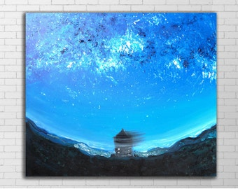 Fisheye Abstract Sky Painting, Oil painting abstract, Atmospheric, Blue wall art, Dark Sky, Night Landscape, Vivid picture, Bright blue sky