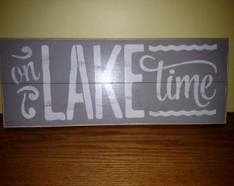 Lake house wood sign ON LAKE TIME Beach house wood sign pallet wood sign beach