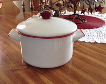 Vintage White and Red Enamel Cookware Pot