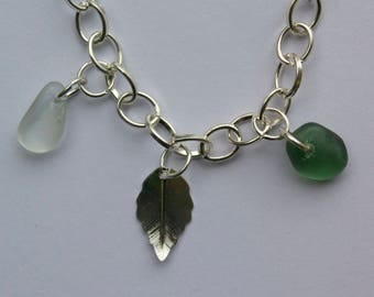 Sea foam and green seaglass silver plated bracelet.