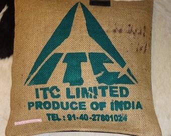 "Pillowcase original coffee bag cushion ""ITC LIMITED"" 50 x 50 cm"