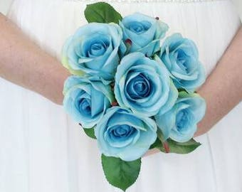 Blue rose wedding bouquet, bridesmaid or brides bouquet