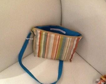 Handmade Striped cotton canvas shoulder bag