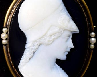 Antique Victorian Onyx Cameo Brooch 14k - Superb Helmeted Athena
