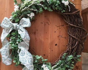 White and Green Spring Wreath