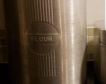 Vintage Mid Century Spun Aluminum Flour Canister