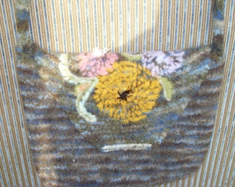 Hand knit felted purse with embroidery