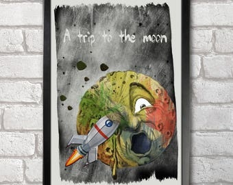 A trip to the Moon Poster Print A3+ 13 x 19 in - 33 x 48 cm  Buy 2 get 1 FREE
