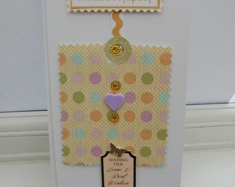 With Sincere Sympathy Hand Made Card, Sending Our Love and Best Wishes, Gold, Yellow