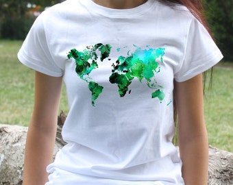 World Map T-shirt - Art Tee - Fashion women's apparel - Colorful printed tee - Gift Idea