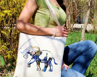 Animal tote bag -  Elephant shoulder bag - Fashion canvas bag - Colorful printed market bag - Gift Idea