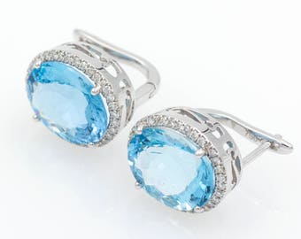 Earings - White Gold 18k/750 -Natural aquamarine of 8.70 ct. - Diamonds 0.25 ct.