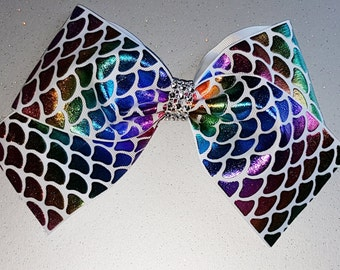 Holographic rainbow mermaid scales hair bow