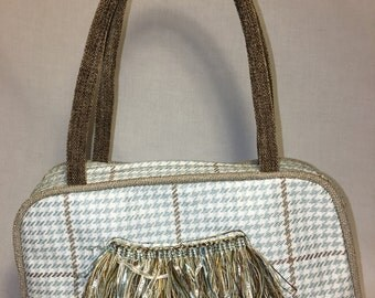 Light Blue and Brown Houndstooth Handbag