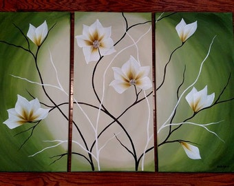 3 Piece Original Acrylic  Flower Painting on Canvas