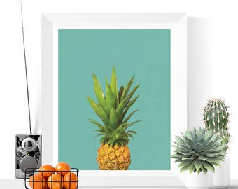 Pineapple Art Printable | Pineapples | Art Printable | Modern Art | Fruit Art | Kitchen Art | Tropical | Food | Summer Art