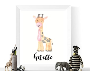 Giraffe Printable | Giraffe Watercolor Printable | Giraffes | Watercolour | Safari Animal Art | | Nursery | Giraffe Art