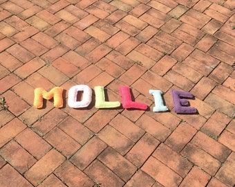 CROCHETED ABCs - stuffed letters - learning toy -personalized