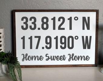 Personalized Coordinates Sign, Housewarming Gift Idea, GPS coordinates sign, Latitude Longitude, Wedding Gift for Couple, Rustic Framed Sign
