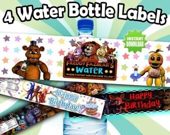 4 Five Nights at Freddy's FNAF Printable Water Labels!