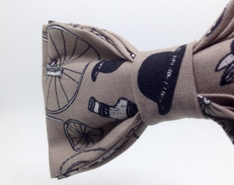 Handmade Bicycle Print Bow Tie