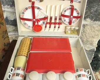 Sirram Picnic Set For Four | Vintage Retro Picnic Hamper | 1940s/1950s Picnic Hamper